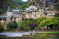 La Malene village in Gorges du Tarn. UNESCO World Heritage Site. Grands Causses Regional Natural Park. Lozere. Occitanie. France.