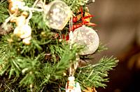 Decorated Christmas Tree at home. Holiday concept.