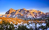 Sedona's winter mountains at sunset, Arizona, USA.