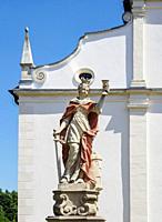 Sculpture at Camaldolese monastery complex in Rytwiany, Swietokrzyskie Voivodeship, Poland.