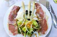 Asparagus serrano ham and salad Spain