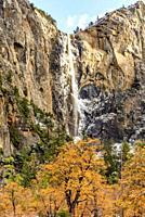Bridalveil Fall in Autumn Yosemite National Park CA USA World Location.
