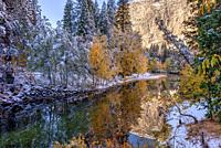After a Fall Snow on the Merced River in Yosemite National Park CA USA World Location.