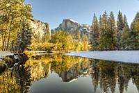 Fall Sunrise Below Half Dome on the Merced River Yosemite National Park CA USA World Location.
