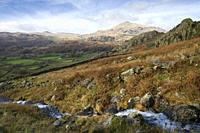 A stream flowing down from the Seathwaite Fells beside Tongue House High Close with the Duddon Valley and Harter Fell beyond in the Lake District Nati...