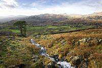 Autumnal view over the Duddon Valley from the Seathwaite Fells in the Lake District National Park, Cumbria, England.