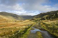 The path approaching Seathwaite Tarn reservoir with the dam visible below Grey Friar and Swirl How fells in the Lake District National Park, Cumbria, ...
