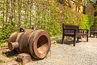 Impressions of the village and the palace and monastery complex of Bebenhausen near Tübingen, Baden-Württemberg, Germany, benches and historical morta...