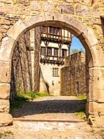 Impressions of the village and the palace and monastery complex of Bebenhausen near Tübingen, Baden-Württemberg, Germany, gateway in the medieval surr...