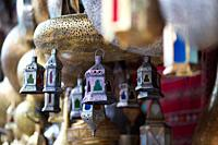 Moroccan glass and metal lanterns lamps in the soup of Marrakesh.