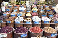 Colours and spices at the souq, Aswan, Egypt.