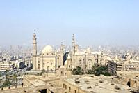 The mosque and madrassa of sultan Hassan, view from the Citadel of Cairo, Egypt.