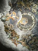 Fall of the Giants fresco, a spectacular painting made by Giulio Romano. Palazzo Te. Mantua. Lombardy. Italy.