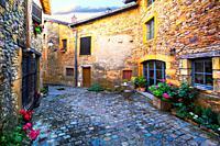 Into small road of Oingt village, Beaujolais, Beaujolais.