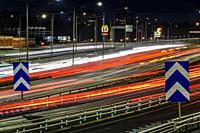 Stockholm, Sweden Traffic streaks on the E4 highway in the morning.