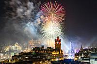 Fireworks over Edinburgh on new Year's Eve 31 December 2019, Scotland, UK.