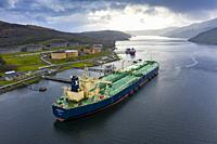 Aerial view of Finnart Ocean Terminal operated by Petroineos on Loch Long , Argyll and Bute, Scotland, UK.