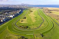 Aerial view of Musselburgh Old Golf Course and Musselburgh Racecourse, East Lothian, Scotland UK.