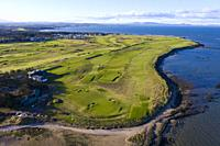 Aerial view of Kilspindie Golf course in Aberlady, East Lothian, Scotland, UK.