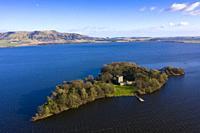 Aerial view of Loch Leven Castle on Loch Leven in Fife, Scotland, UK.