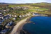 Aerial view of village of Aberdour in Fife, Scotland, UK.