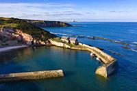 Aerial view of Cove harbour in East Lothian, Scotland, UK.