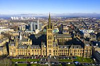 Aerial view of gothic buildings of Glasgow University, Scotland, UK.