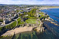 Aerial view of St Andrews Castle and city in St Andrews , Fife, Scotland, UK.