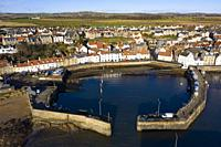 Aerial view from drone of St Monans fishing village in the East Neuk of Fife, Scotland, UK.