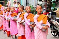 Young Girl Monks with Rice Bowls, Yangon Rangoon, Myanmar, Burma, Asia