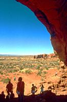 visitors to Arches National Park, Utah.