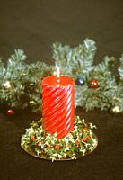 red candle, Christmas decoration. New Mexico.