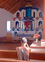 interior of church of San Pedro, San Pedro de Atacama, Chile.