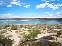 Elephant Butte lake, New Mexico. Water low, drought condition. A favorite spot for boaters at holiday time.