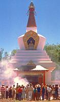 fire puja, Tibetan stupa, Santa Fe, New Mexico.