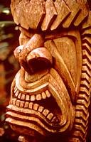 Ancient Hawai'ian god Ku, presiding over productivity, war, fishing, husbandry, sorcery. . Carved wood. Hawai'i.