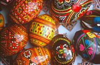 Ukranian folk designs painted on wood eggs. New Mexico.