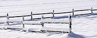 Winter landscape of snow covered fields and wooden fence on the Swabian Alb near Lichtenstein, Baden-Württemberg, Germany.