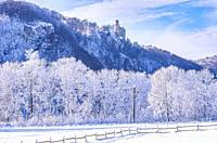 Winterly Lichtenstein Castle in snowy landscape, Honau, municipality of Lichtenstein near Reutlingen, Swabian Alb, Germany.