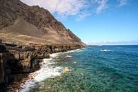 Lava coast in El Hierro island, Canary Islands, Spain. El Golfo, biosphere reserve. High quality photo.