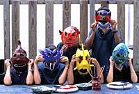 Art students wearing masks. . Art School. . Miami. Florida. USA.
