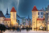 Tallinn, Estonia. Night Starry Sky Above Famous Landmark Viru Gate Gates. Street Lighting In Winter Holiday Evening. Christmas Xmas, New Year Vacation...