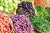 Vegetable display at a Varanasi flea market.