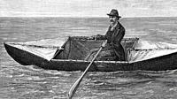 M. Terry's water and land tricycle transformed into a boat during the Pas de Calais crossing. 1883. Antique illustration. 1884.
