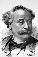 Alexandre Dumas, son. French writer, novelist and playwright. 1824-1895. Antique illustration. 1884.