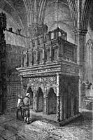 Grave of Edward the Confessor, founder of Westminster Abbey, London, England. Antique illustration. 1884.