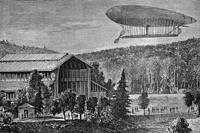 Electric airship balloon by Renard and Krebs, French inventors, tested over Meudon, France on August 9th, 1884. Antique illustration. 1884.