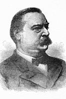 Stephen Grover Cleveland. 22nd & 24th President of the United States. 1837-1908. Antique illustration. 1884.