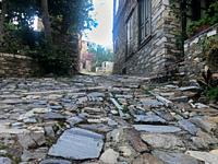 Street with Cobblestone in Rural Area from Low Angle.