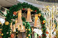 Decoration hang at shopping mall during christmas.